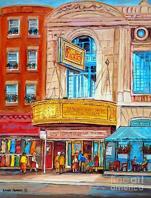 Theatre Rialto Ave. Du Parc Montreal Print by Carole Spandau