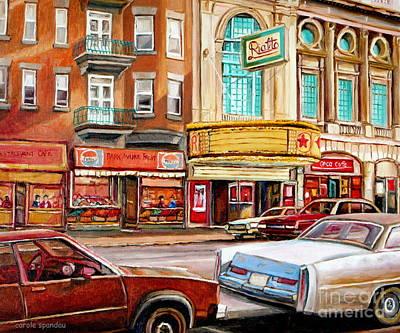 Painting - Theatre Rialto Historic Cinemas Montreal Landmark Park Ave Street Scenen Canadian Art Carole Spandau by Carole Spandau