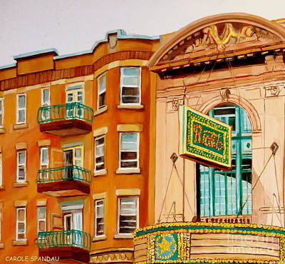 Rialto Theatre Painting - Theatre Rialto Montreal Memories Original Art Historic Canadian Cinema Paintings Carole Spandau      by Carole Spandau
