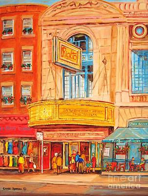 Montreal Buildings Painting - Theatre Rialto Montreal Urban City Scene Vintage Cinema Canadian Painting Carole Spandau by Carole Spandau