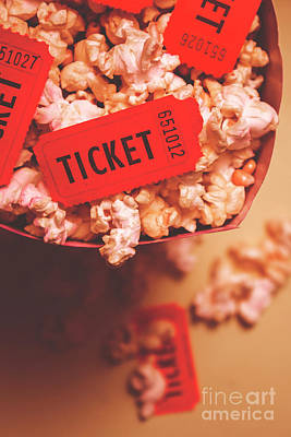 Pop Corn Photograph - Theatre Tickets In Popcorn Box by Jorgo Photography - Wall Art Gallery