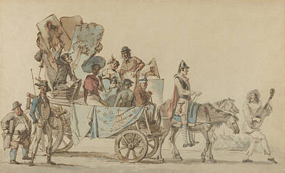 Drawing - Theatrical Troupe On The Road by Eugene Delacroix