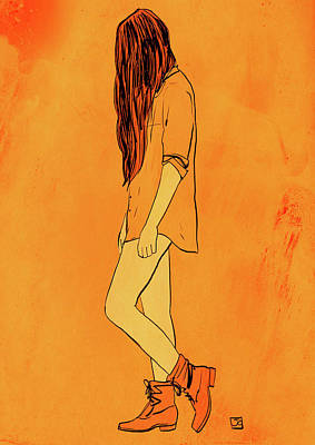Orange Drawing - Theese Boots... by Giuseppe Cristiano