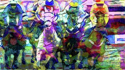 Jockey Painting - Their Off by Jon Neidert