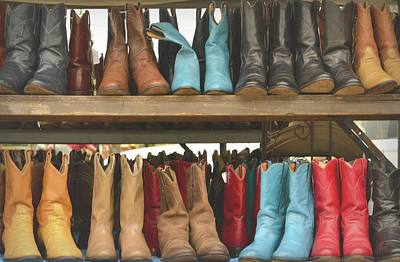 Photograph - Them Boots, Turquoise And Red by Nadalyn Larsen