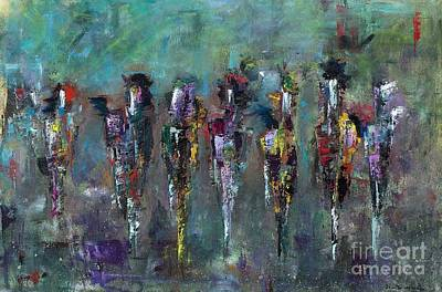 Abstract Equine Art Painting - Then Came Seven Horses by Frances Marino