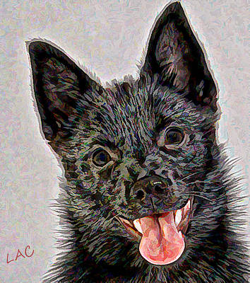 Schipperke Painting - Theo - Schipperke Puppy by Laurence Canter