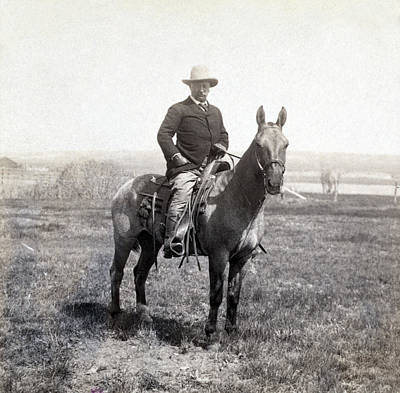Theodore Roosevelt Horseback - C 1903 Art Print by International  Images