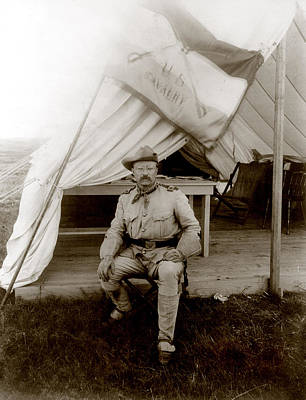 Candid Photograph - Theodore Roosevelt, Seated At Entrance by Everett