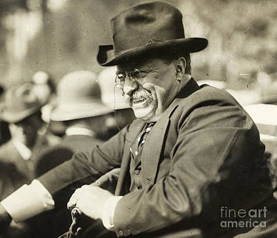 Celebrities Photograph - Theodore Roosevelt Smiling From An Automobile by American School