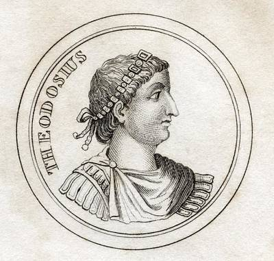 Flavius Drawing - Theodosius The Great Flavius Theodosius by Vintage Design Pics