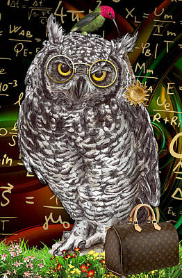 Owl Mixed Media - Theory Of Relativity by Marvin Blaine