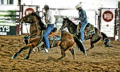 Team Roping Photograph - There Is No I In Team by CJ Anderson