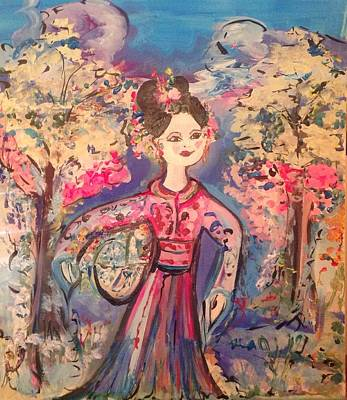 Painting -  There Was Snow On The Mountain But Love In Her Heart by Judith Desrosiers