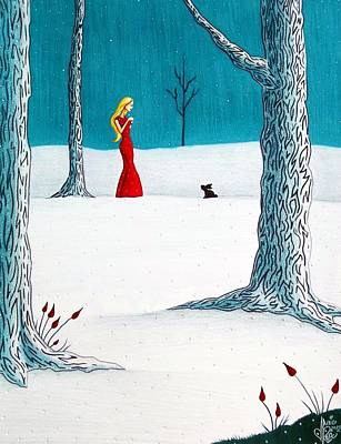 Trees In Snow Drawing - There's Always Hope by Danielle R T Haney