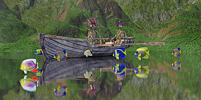 Row Boat Digital Art - There's Something Fishy Goin' On by Betsy Knapp