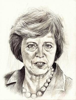 Watercolour Drawing - Theresa May Portrait by Suzann's Art