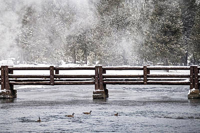 Photograph - Thermal Steam By The Bridge - Yellowstone by Stuart Litoff