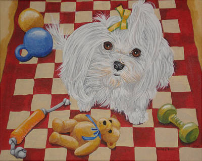 Toy Maltese Painting - These Are My Toys by Laura Bolle