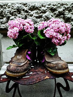 Photograph - These Boots Are Made For Flowers by Karen Stahlros
