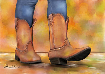 Cowboyboots Painting - These Boots Are Made For Walkin  by Sannel Larson