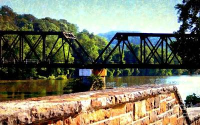 Photograph - These Days Bethlehem Pa - Lehigh River Train Trestle Bethlehem Pa by Janine Riley