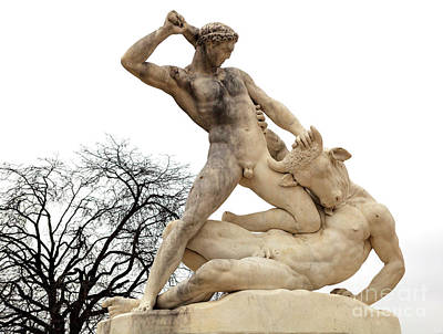 Minotaur Photograph - Theseus And The Minotaur At Tuileries Garden Paris by John Rizzuto