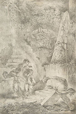 Relief - Theseus Finding His Father's Arms by Giovanni Benedetto Castiglione