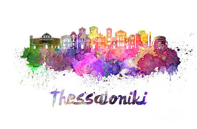 Greece Watercolor Painting - Thessaloniki Skyline In Watercolor by Pablo Romero
