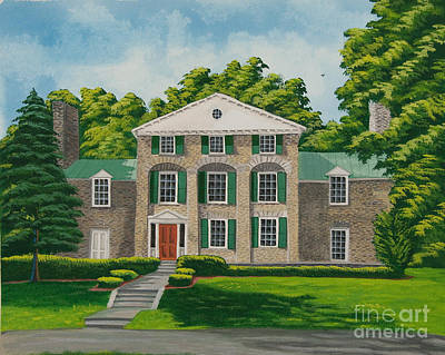 Stone Buildings Painting - Theta Chi by Charlotte Blanchard