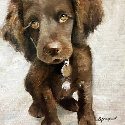 Dog Painting - They Call It Puppy Love by Mary Sparrow