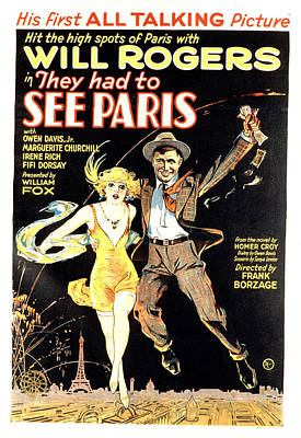 1920s Movies Photograph - They Had To See Paris, Will Rogers by Everett
