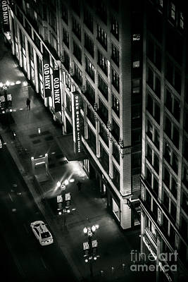 Photograph - They Walk Alone Film Noir High Angle Photo  Of State And Lake Street At Night Chicago Illinois by Linda Matlow