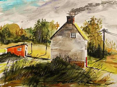 Old Shed Drawing - Thick Clouds by John Williams