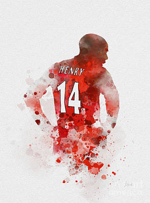 Mixed Media - Thierry Henry by Rebecca Jenkins