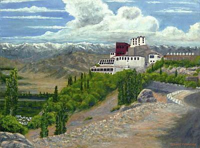Himalaya Painting - Thikse Monastery by Tenzin Tamding