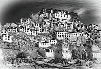 Thiksey Monastery - Paint Bw Art Print by Steve Harrington