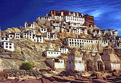 Thiksey Monastery - Paint Art Print by Steve Harrington