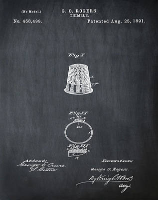 Thimble Patent 1891 In Chalk Art Print by Bill Cannon