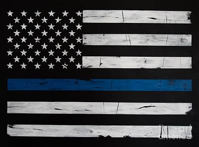 Police Art Painting - Thin Blue Line by Dominoe Gregor