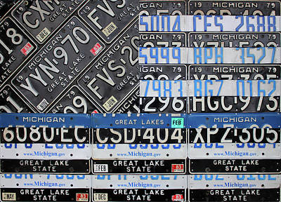 Mixed Media - Thin Blue Line Michigan License Plate American Flag Art by Design Turnpike