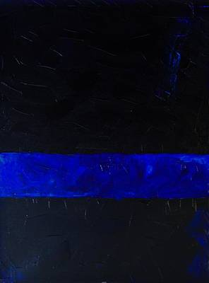 Cop Painting - Thin Blue Line by Sarah Jane Thompson