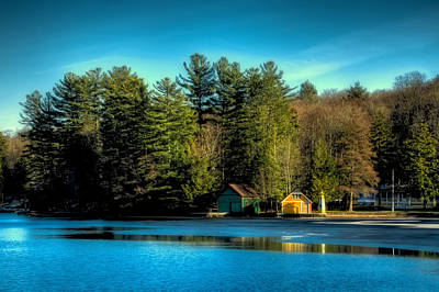 Boathouse Photograph - Thin Ice Forming At The Pond by David Patterson