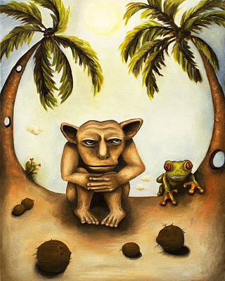 Thinking About Coconuts Art Print by Leah Saulnier The Painting Maniac