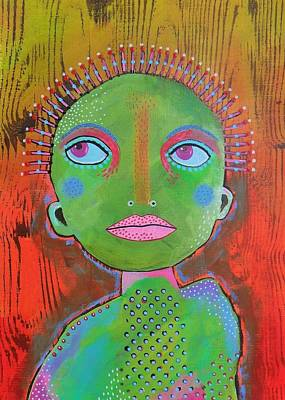 Primitive Raw Art Painting - Thinking  by Bea Roberts