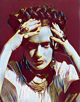 Digital Art - Thinking Frida by Gary Grayson