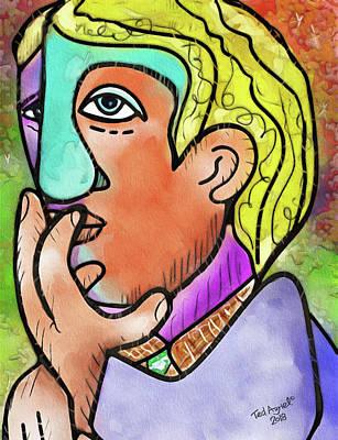 Digital Art - Thinking Man by Ted Azriel