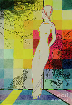 Color Block Drawing - Thinking Of You by Elaine Berger