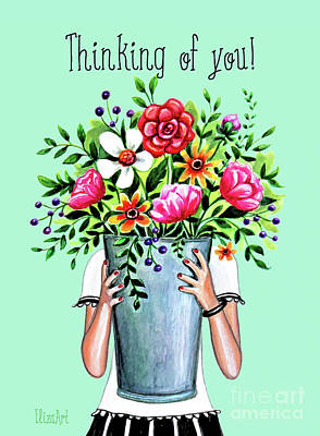 Painting - Thinking Of You Greeting Card by Elizabeth Robinette Tyndall