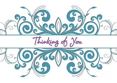 Digital Art - Thinking Of You Lt Blue Deco by JH Designs